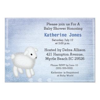 Niedliche Baby-Lamm-Baby-Duschen-Einladung 12,7 X 17,8 Cm Einladungskarte