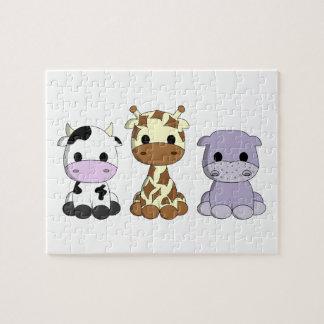 Niedliche Babykuhgiraffenflusspferd-Cartoonkinder Puzzle