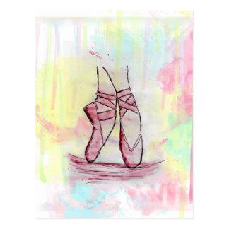Niedliche Ballettschuh-Skizze Watercolorhand Postkarte