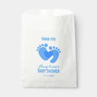 Niedliche blaues BABY-FÜSSE Herz JUNGE Baby-Dusche Geschenktütchen