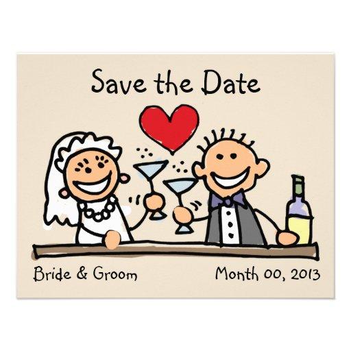 Niedliche Braut-und Bräutigam-Save the Date Karten Individuelle Ankündigung