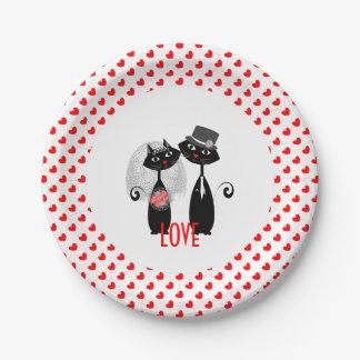 Niedliche Bräutigam-Hochzeits-Katzen der Braut-| Pappteller
