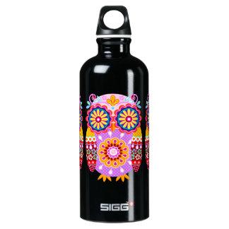 Niedliche bunte Eule - Stammes- Volkskunst Wasserflaschen