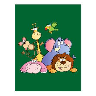 Niedliche Cartoon-Dschungel-Tiere Postkarte