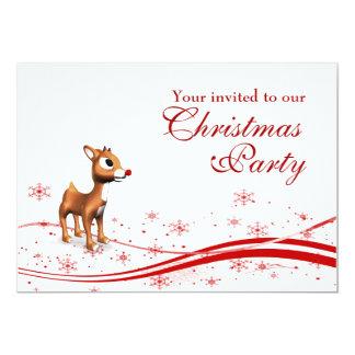 Niedliche Cartoon-Ren-WeihnachtsParty Einladung