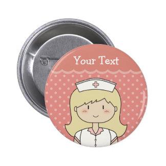 Niedliche Cartoonkrankenschwester (blond) Buttons