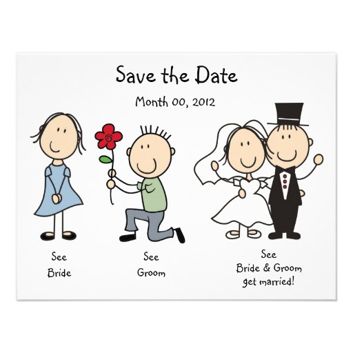 Niedliche Dick- und JaneSave the Date Karten Individuelle Ankündigungskarte