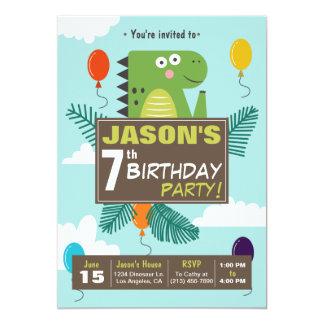 Niedliche Dinosaurier-Kindergeburtstag-Party Karte