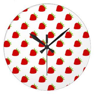 Niedliche Erdbeermuster-Küchen-Wand-Uhr Große Wanduhr