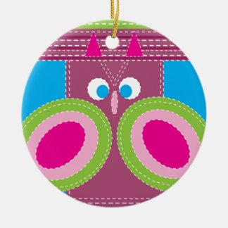 Niedliche Eule genähter Blick-wunderlicher Vogel Rundes Keramik Ornament