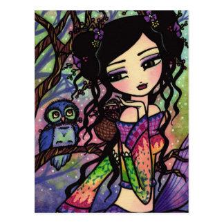 Niedliche Eulen-asiatische Postkarte