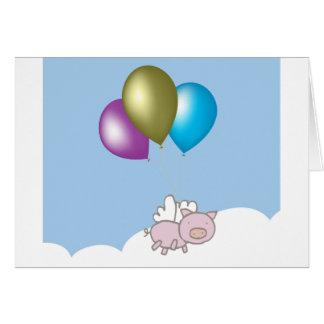 Niedliche Fliegen-Schwein-und Ballon-Kunst Karte