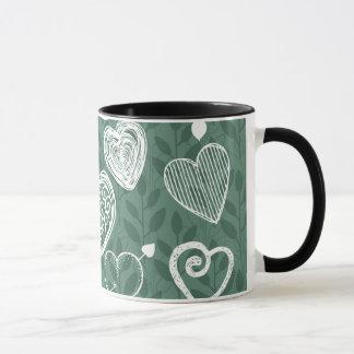 Niedliche Gekritzel-Herzen und blühen Muster Tasse