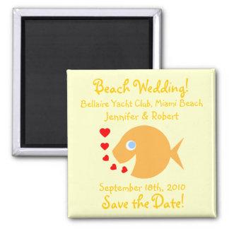 Niedliche Goldfish-Save the Date Strand-Hochzeit Quadratischer Magnet
