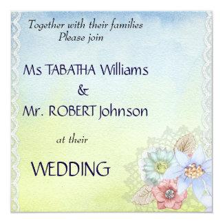 Niedliche helle quadratische Hochzeits-mit Karte