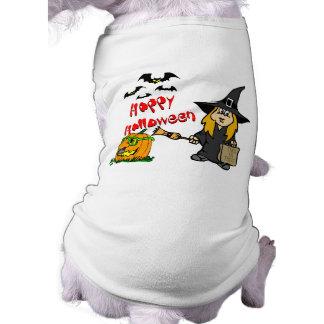 Niedliche Hexe Halloweens Ärmelfreies Hunde-Shirt