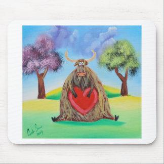 Niedliche Hochlandkuh mit einem Herzen Gordon Mauspads