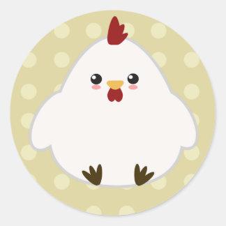 Niedliche Huhn-Aufkleber Runder Aufkleber