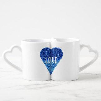 Niedliche Jahrestags-Paar-blaue Liebe-Herzen Partnertassen