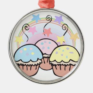 niedliche kleine Kuchen und Sterne Silbernes Ornament