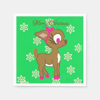 Niedliche kleine Ren-frohe Weihnacht-Servietten Serviette