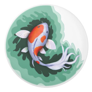 Niedliche Koi Fisch-Kunst Keramikknauf