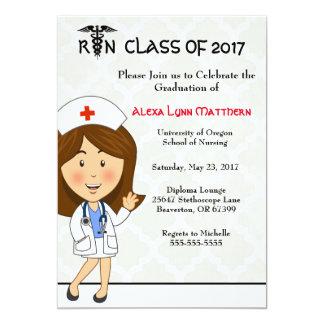 Niedliche Krankenpflege-SchulAbschluss-Einladung Karte
