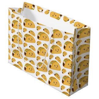 Niedliche lächelnde Taco-Muster-Geschenk-Tasche Große Geschenktüte