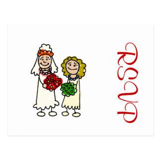 Niedliche lesbische Bräute Postkarte