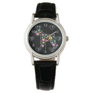 Niedliche Liebe mein Schnauzerblumenentwurf Armbanduhr
