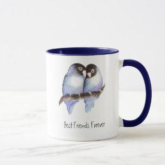 Niedliche Lovebirds, beste Freunde für immer, Tasse