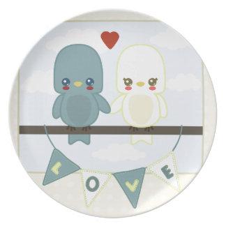 Niedliche Lovebirds ct Melaminteller