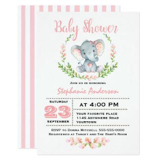 Niedliche Mädchen-Elefant-Baby-Duschen-Einladung 12,7 X 17,8 Cm Einladungskarte