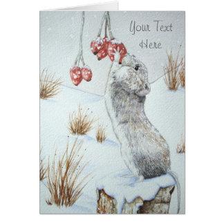 Niedliche Maus und rote Mitteilungskarte