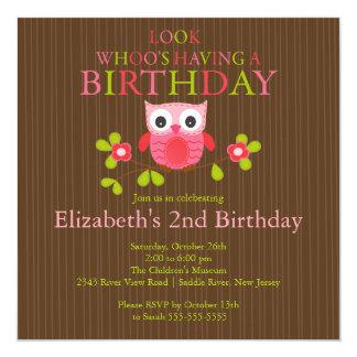Niedliche moderne Eulen-Geburtstags-Party Quadratische 13,3 Cm Einladungskarte