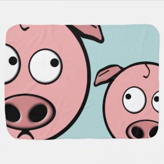 Niedliche neugierige Schweine Kinderwagendecke