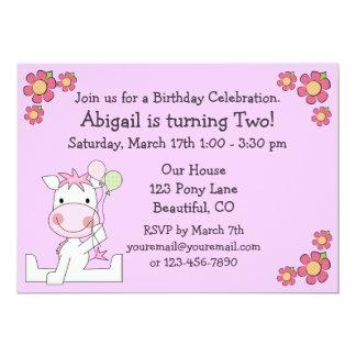 Niedliche Pony-Geburtstags-Einladung für Mädchen 12,7 X 17,8 Cm Einladungskarte