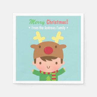 Niedliche Ren-Jungen-WeihnachtsParty-Versorgungen Serviette