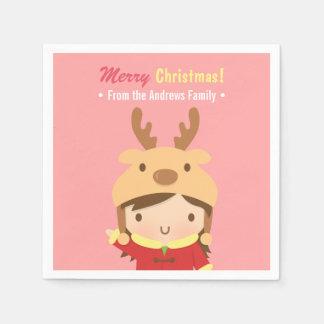 Niedliche Ren-Mädchen-WeihnachtsParty-Versorgungen Serviette