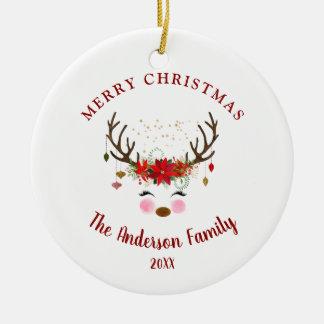 Niedliche Ren-Weihnachtsfeiertags-Party-Verzierung Keramik Ornament