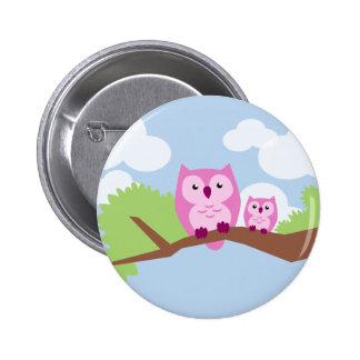 Niedliche rosa Eulen-Mamma und Baby Runder Button 5,1 Cm