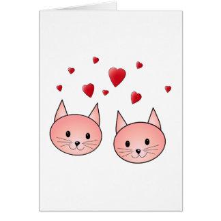 Niedliche rosa Katzen mit Herzen Karte