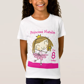 Niedliche rosa Prinzessin 8. Geburtstag MÄDCHEN-T T-Shirt