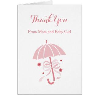 Niedliche rosa Regenschirm-und Bogen-Baby-Dusche Karte