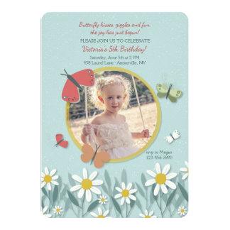 Niedliche Schmetterlings-Foto-Einladung 12,7 X 17,8 Cm Einladungskarte