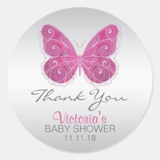 Niedliche Schmetterlings-Rosa-Baby-Dusche Runder Aufkleber