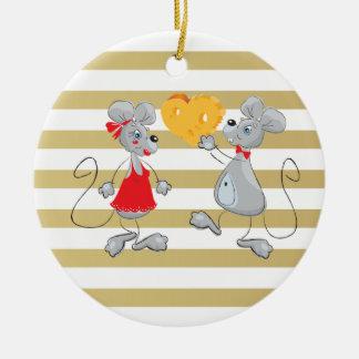 Niedliche schrullige wunderliche Mouses-Streifen Keramik Ornament