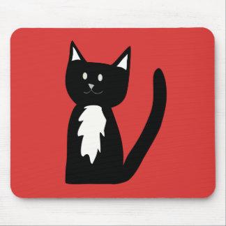 Niedliche Schwarzweiss-Tuxedo-Katze Mauspad