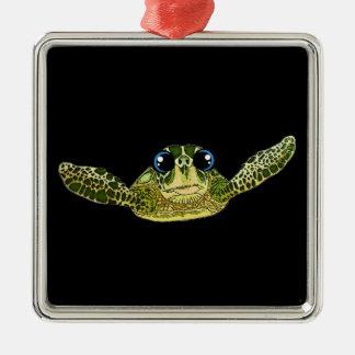 Niedliche Seeschildkröte Silbernes Ornament