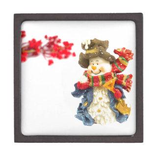 Niedliche Snowmanfigürchen mit roten Beeren auf Schachtel